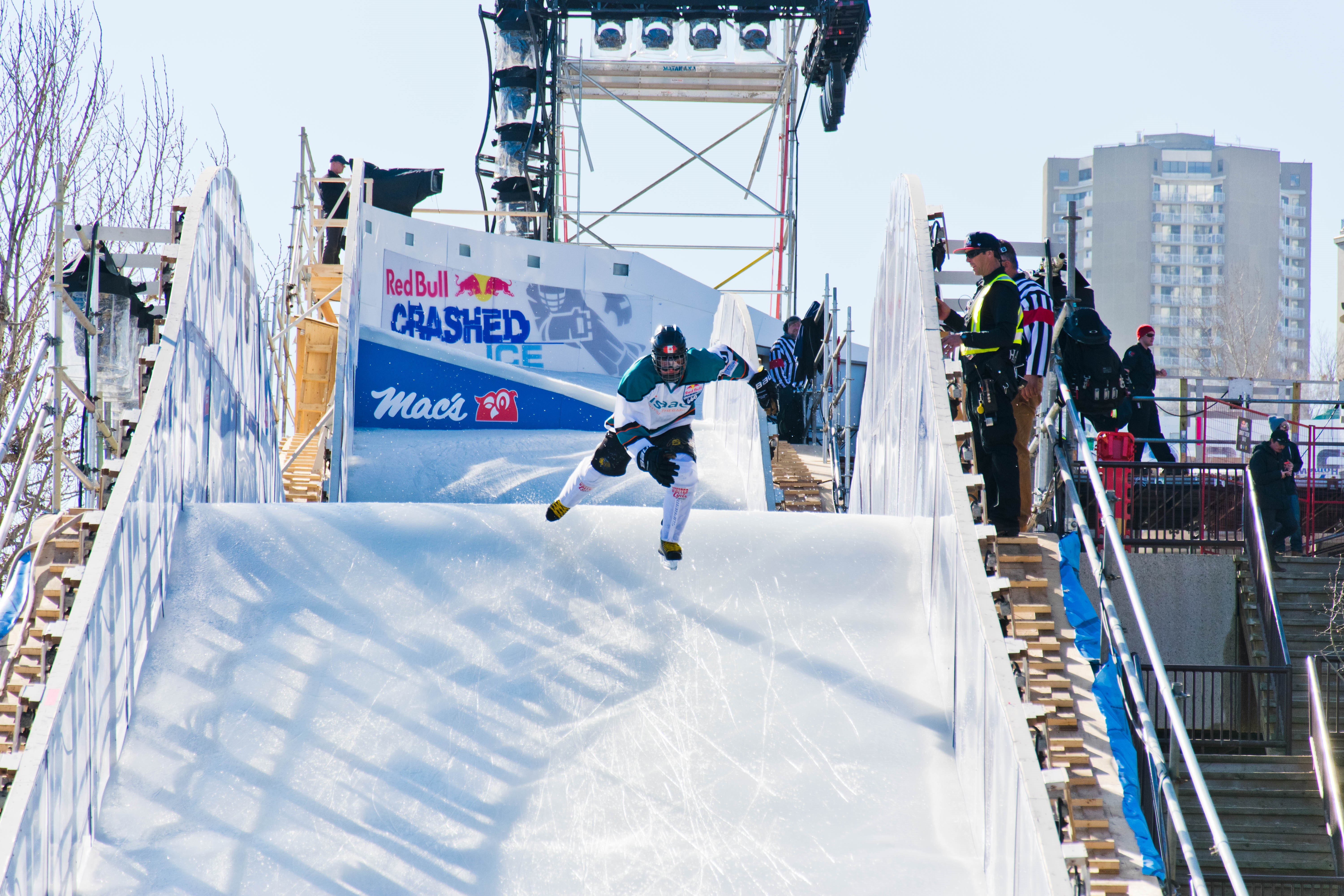 Oli Isaac competes in Red Bull Crashed Ice